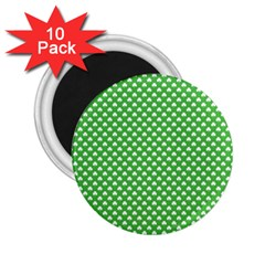 White Heart Shaped Clover On Green St  Patrick s Day 2 25  Magnets (10 Pack)  by PodArtist
