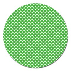 White Heart Shaped Clover On Green St  Patrick s Day Magnet 5  (round) by PodArtist