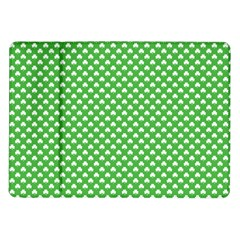 White Heart Shaped Clover On Green St  Patrick s Day Samsung Galaxy Tab 10 1  P7500 Flip Case by PodArtist