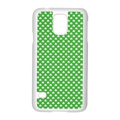 White Heart Shaped Clover On Green St  Patrick s Day Samsung Galaxy S5 Case (white) by PodArtist