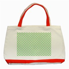 Green Heart Shaped Clover On White St  Patrick s Day Classic Tote Bag (red) by PodArtist