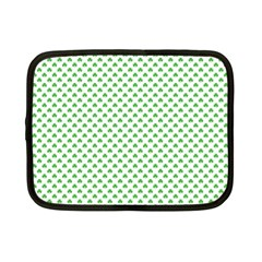 Green Heart Shaped Clover On White St  Patrick s Day Netbook Case (small)  by PodArtist