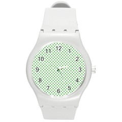 Green Heart Shaped Clover On White St  Patrick s Day Round Plastic Sport Watch (m) by PodArtist