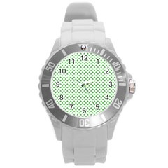 Green Heart Shaped Clover On White St  Patrick s Day Round Plastic Sport Watch (l) by PodArtist
