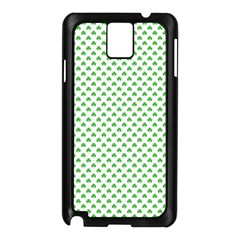 Green Heart Shaped Clover On White St  Patrick s Day Samsung Galaxy Note 3 N9005 Case (black) by PodArtist