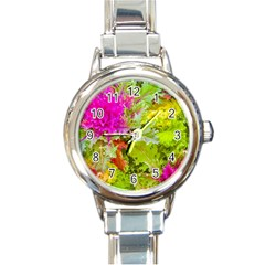 Colored Plants Photo Round Italian Charm Watch by dflcprints