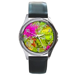 Colored Plants Photo Round Metal Watch by dflcprints