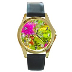 Colored Plants Photo Round Gold Metal Watch by dflcprints