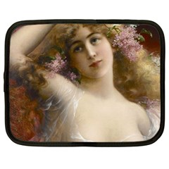 Victorian Lady In Pink Netbook Case (xl)  by vintage2030