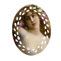Victorian Lady In Pink Oval Filigree Ornament (two Sides) by vintage2030
