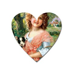 Girl With Dog Heart Magnet by vintage2030