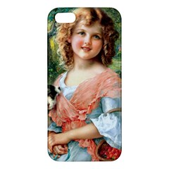 Girl With Dog Apple Iphone 5 Premium Hardshell Case by vintage2030