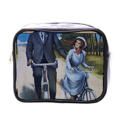 Couple On Bicycle Mini Toiletries Bags by vintage2030