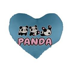 Panda  Standard 16  Premium Flano Heart Shape Cushions by Valentinaart