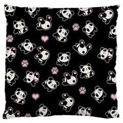 Panda Pattern Large Cushion Case (one Side) by Valentinaart