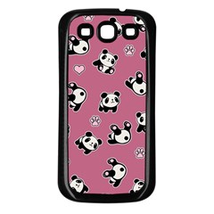 Panda Pattern Samsung Galaxy S3 Back Case (black) by Valentinaart
