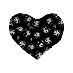 Panda Pattern Standard 16  Premium Heart Shape Cushions by Valentinaart