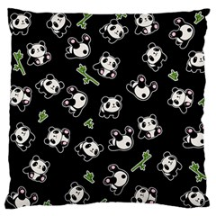 Panda Pattern Large Flano Cushion Case (one Side) by Valentinaart