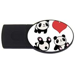 Panda Usb Flash Drive Oval (4 Gb) by Valentinaart