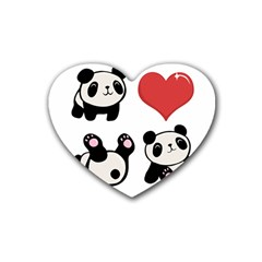 Panda Heart Coaster (4 Pack)  by Valentinaart