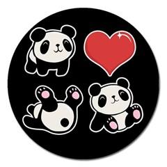 Panda Magnet 5  (round) by Valentinaart