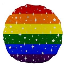 Sparkly Rainbow Flag Large 18  Premium Flano Round Cushions by Valentinaart