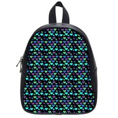 Hearts Butterflies Black School Bag (small) by snowwhitegirl
