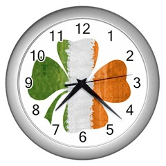 Irish Clover Wall Clocks (silver)  by Valentinaart