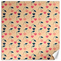 Heart Cherries Cream Canvas 12  X 12   by snowwhitegirl