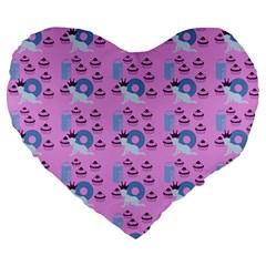 Punk Baby Pink Large 19  Premium Heart Shape Cushions by snowwhitegirl