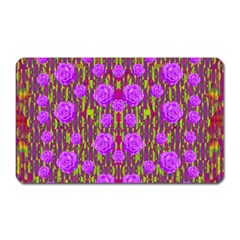 Roses Dancing On A Tulip Field Of Festive Colors Magnet (rectangular) by pepitasart