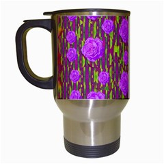 Roses Dancing On A Tulip Field Of Festive Colors Travel Mugs (white) by pepitasart