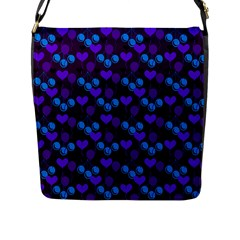 Night Cherries Flap Messenger Bag (l)  by snowwhitegirl