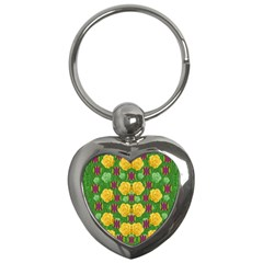 Roses Dancing On  Tulip Fields Forever Key Chains (heart)  by pepitasart