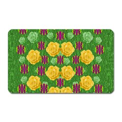 Roses Dancing On  Tulip Fields Forever Magnet (rectangular) by pepitasart