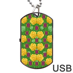 Roses Dancing On  Tulip Fields Forever Dog Tag Usb Flash (one Side) by pepitasart