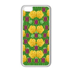 Roses Dancing On  Tulip Fields Forever Apple Iphone 5c Seamless Case (white) by pepitasart