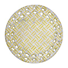 Woven2 White Marble & Yellow Watercolor (r) Ornament (round Filigree) by trendistuff