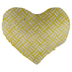 Woven2 White Marble & Yellow Watercolor Large 19  Premium Flano Heart Shape Cushions by trendistuff