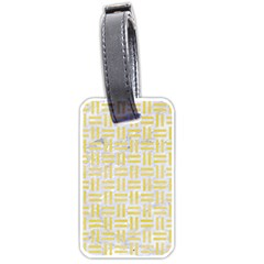 Woven1 White Marble & Yellow Watercolor (r) Luggage Tags (one Side)  by trendistuff