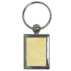 Woven1 White Marble & Yellow Watercolor Key Chains (rectangle)  by trendistuff
