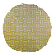 Woven1 White Marble & Yellow Watercolor Large 18  Premium Flano Round Cushions by trendistuff