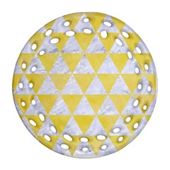Triangle3 White Marble & Yellow Watercolor Round Filigree Ornament (two Sides) by trendistuff