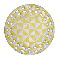Triangle1 White Marble & Yellow Watercolor Ornament (round Filigree) by trendistuff