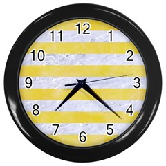 Stripes2white Marble & Yellow Watercolor Wall Clocks (black) by trendistuff