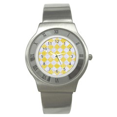 Square2 White Marble & Yellow Watercolor Stainless Steel Watch by trendistuff