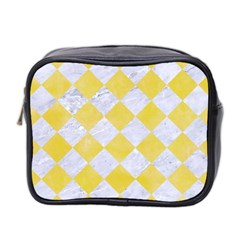 Square2 White Marble & Yellow Watercolor Mini Toiletries Bag 2 Side by trendistuff