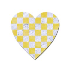 Square1 White Marble & Yellow Watercolor Heart Magnet by trendistuff