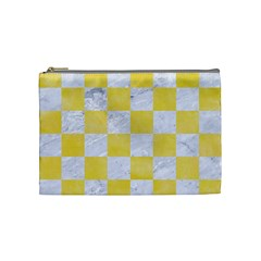 Square1 White Marble & Yellow Watercolor Cosmetic Bag (medium)  by trendistuff