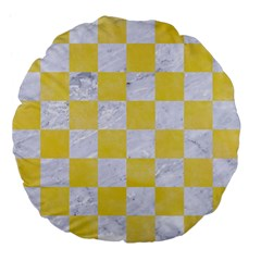 Square1 White Marble & Yellow Watercolor Large 18  Premium Flano Round Cushions by trendistuff